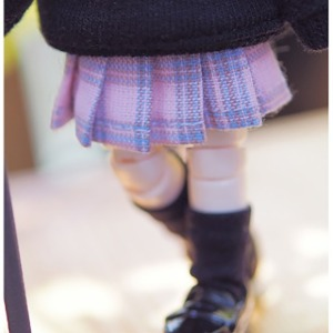 [OB11] O11)Check pleated skirt(Purple)